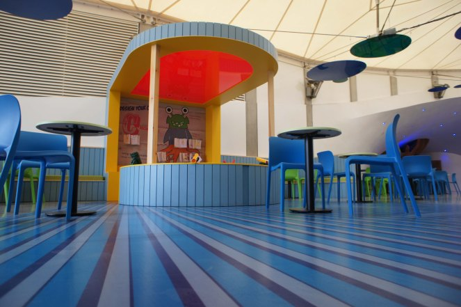 C-Shed C-Monster custom striped graphic flooring