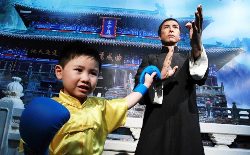 """Donnie Yen's wax likeness at """"Kung Fu Zone"""" at Madame Tussauds Hong Kong located in the Peak Tower. 06JUL15"""
