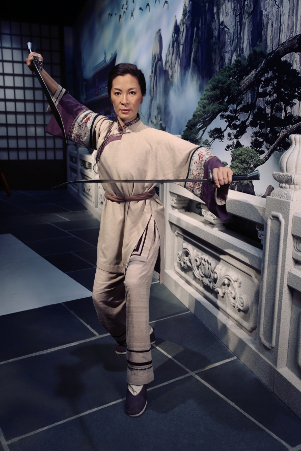 MIchelle Yeoh with temple in background