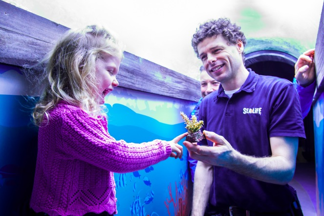 SEALIFE Brighton's Gustav with Molly Ann Clarke and coral at Secrets of the Reef launch at SEALIFE Brighton. photo ©Julia Claxton